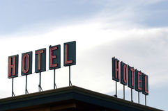 Hotel Sign. Two neon hotel signs Royalty Free Stock Photos