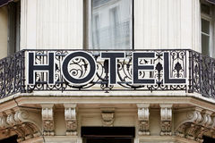 Hotel sign on balcony Royalty Free Stock Photo