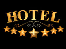 Hotel sign on a black background - 7 stars (3D illustration). Golden sign of the hotel on a black background - 7 stars royalty free illustration