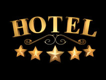 Hotel sign on a black background - 5 stars (3D illustration). Golden sign of the hotel on a black background - 5 stars vector illustration