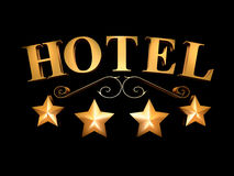Hotel sign on a black background - 4 stars (3D illustration). Golden sign of the hotel on a black background - 4 stars stock illustration