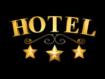 Hotel sign on a black background - 3 stars (3D illustration). Golden sign of the hotel on a black background - 3 stars royalty free illustration