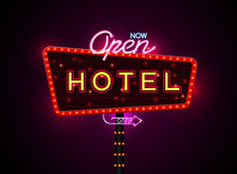 Hotel sign buib and neon. Neon sign city banner hotel, set vertically horizontally text, Vector illustration vector illustration