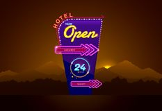 Hotel sign buib and neon open. Vector illustration royalty free illustration
