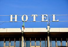 Hotel sign on a building Stock Images