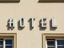 Hotel Sign On Building Stock Images