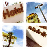 Hotel sign. And exterior details - Phoneography collage stock image