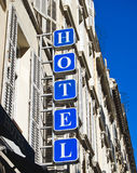 Hotel Sign. Facade of a building with hotel sign royalty free stock image