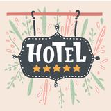 The hotel sign with a five golden stars. The hotel sign with a five stars. 5 golden stars on the hotel signboard. Vector cartoon illustration in modern concept royalty free illustration