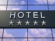 The hotel sign with five stars. stock illustration