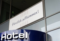 Hotel sign in Germany. Welcome sign at the entrance to the hotel Stock Image