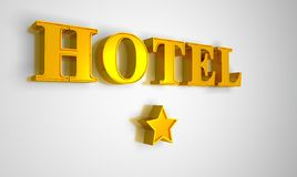 Hotel sign gold on white 1 star. Golden Hotel letters on white background royalty free illustration
