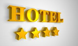 Hotel sign gold on white 4 stars Royalty Free Stock Image