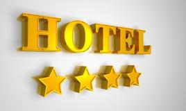 Hotel sign gold on white 4 stars. 3D Illustration Hotel sign gold on white 4 stars royalty free illustration