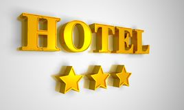 Hotel sign gold on white 3 stars Royalty Free Stock Photo