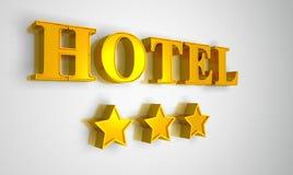 Hotel sign gold on white 3 stars. 3D Illustration Hotel sign gold on white 3 stars Royalty Free Stock Photo