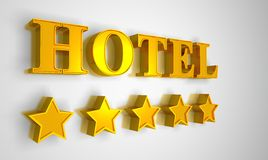 Hotel sign gold on white 5 stars Stock Photography