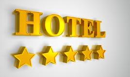 Hotel sign gold on white 5 stars. 3D Illustration Hotel sign gold on white 5 stars stock illustration