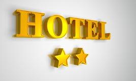 Hotel sign gold on white 2 stars. 3D Illustration Hotel sign gold on white 2 stars Stock Photos