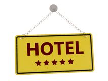 Hotel sign. Hotel 5 stars door sign with chain isolated on white background ,3d rendered vector illustration