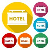 Hotel sign icon, flat style. Vector icon vector illustration