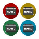 Hotel sign icon, flat style. Vector icon royalty free illustration