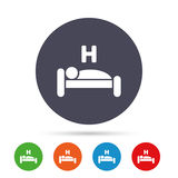 Hotel sign icon. Rest place. Sleeper symbol. Hotel apartment sign icon. Travel rest place. Sleeper symbol. Round colourful buttons with flat icons. Vector vector illustration