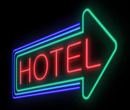Hotel sign. Illustration depicting an illuminated neon hotel sign stock illustration