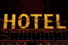 Hotel sign lit up Stock Photography