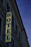 Hotel sign at night Stock Photo