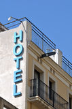 Hotel Sign on Old Building Stock Photo