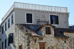 Hotel sign. Hotel and restaurant sign, Split Stock Photo