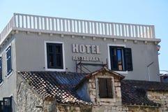 Hotel sign. Hotel and restaurant sign, Split Stock Image
