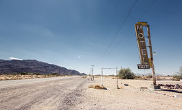 Hotel sign ruin along historic Route 66. In the middle of California's vast Mojave desert Royalty Free Stock Photo