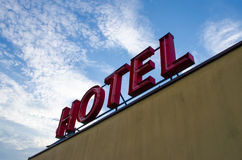 HOTEL SIGN. Simple red hotel sign on top of a building Royalty Free Stock Photography