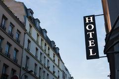 Hotel sign. On the street in Europe Royalty Free Stock Images