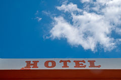 Hotel sign, text at facade wall Royalty Free Stock Photography