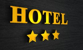 Hotel sign with three stars Royalty Free Stock Images
