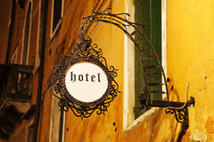 Hotel sign on a Venetian hotel at night Royalty Free Stock Photos