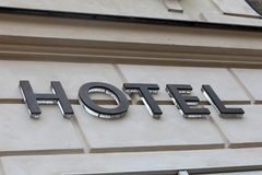 Hotel sign on the wall Royalty Free Stock Photography