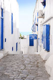 Picturesque Street, Sidi Bou Said Alley, Arabic Architecture, Hotel Sign, White and Blue Tunisian Alley Royalty Free Stock Photo