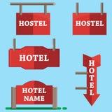 Hotel signboard icons set,flat style. Hotel sign icons set. Flat set of 5 hotel sign vector icons for web isolated on blue background vector illustration
