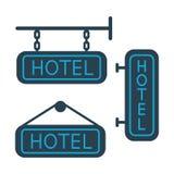 Hotel signboard icons set on white background. Flat hotel signboard icons set on white background royalty free illustration