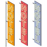 Hotel signboard. Neon outdoor advertising on motel facade in three color variants. Hotel sign in isometric perspective isolated on white background. Isolated royalty free illustration