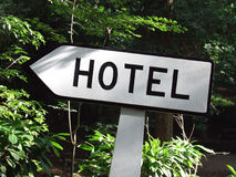 Hotel Signpost. Portuguese ancient concrete hotel signpost Royalty Free Stock Photo