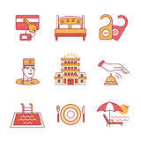 Hotel signs set. Thin line art icons. Flat style illustrations isolated on white Stock Photo