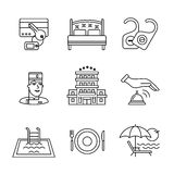 Hotel signs set. Thin line art icons Stock Photography