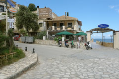Hotel in Sivota town on the Ionian Sea in Greece. Royalty Free Stock Photo