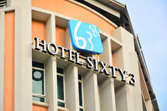Hotel Sixty3 Facade in Kota Kinabalu, Malaysia. KOTA KINABALU, MY- JUNE 19: Hotel Sixty3 facade (sign) in Jalan Gaya, Malaysia on June 19, 2016. Hotel stock photography
