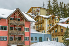 Hotel on ski resort in austrian Alps Royalty Free Stock Image